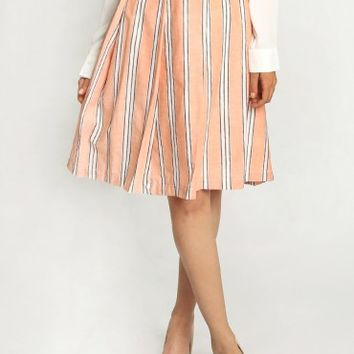Delancy Striped Midi Skirt