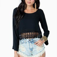 Bell Sleeve Crochet Cropped Blouse