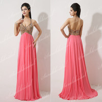 Women Halter Coral Long Prom Party Dress Sexy Evening Cocktail Clubwear Gown