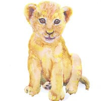 Baby Lion Art Watercolor Painting, Baby Prints Boy Girl Nursery Decor Lion Print, Wall art, Gift ideas,Safari Animal Prints Watercolour
