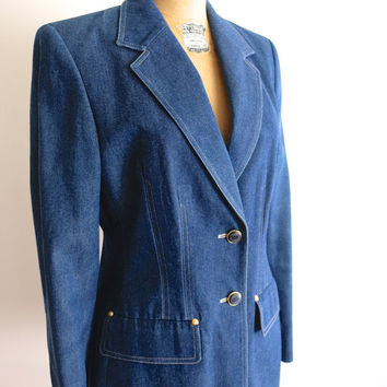 "Vintage Escada Designer Denim Blazer, long jacket 80s power ""girl boss"" vintage style"