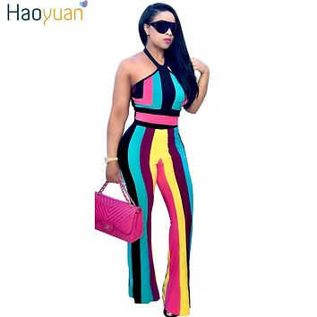 HAOYUAN Stripe Off Shoulder Sexy Two Piece Jumpsuit Summer Bodysuit Overalls Backless Boho Beach Elegant Rompers Womens Jumpsuit