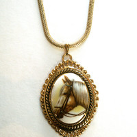Vintage Horse Necklace Upcycled Pendant Gold Tone Chain
