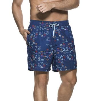 OndadeMar Men's Bicollage Swimwear Colored Fish Print Sea Fit Swim Shorts