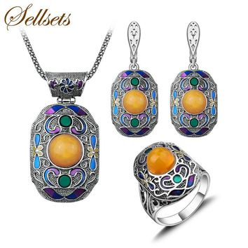 Sellsets Antique Silver Color Turkish Jewelry Set Fashion Enamel And Resin Vintage Ethnic Jewellery Sets For Women Party Gift