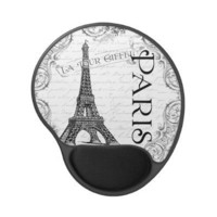 Paris Eiffel Tower and Scrolls Gel Mousepads from Zazzle.com
