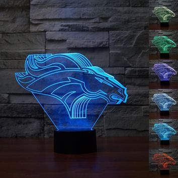 Colorful USB Denver Broncos Table Lamp Luminaria LED Night Light Remote Switch Decorative lighting Atmosphere lamps