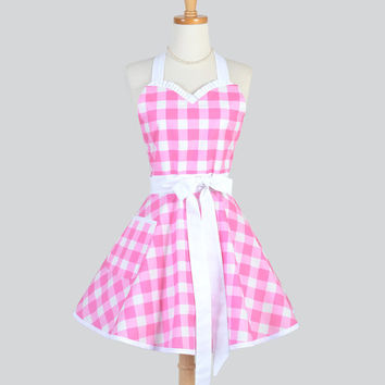 Sweetheart Retro Apron / Large Pink White Gingham in a Cute Womens Retro Rockabilly Sweetheart Styled Apron Personalize or Monogram