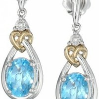 Sterling Silver and 14k Yellow Gold Blue Topaz Earrings @ Jewelry Wonder
