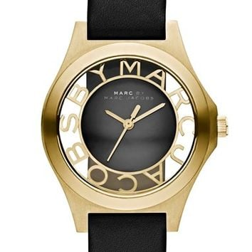 Women's MARC BY MARC JACOBS 'Henry Skeleton' Leather Strap Watch, 34mm