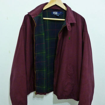 Rare Vintage POLO By RALPH LAUREN pony golf Harrington lined flannel Bomber jacket
