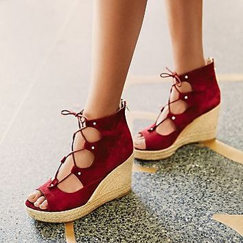 J/Slides Womens Prima Lace Up Wedge