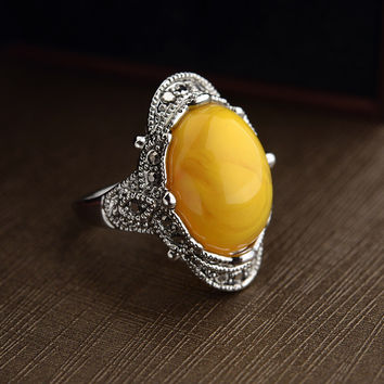 2 Colors Real Austrian Crystals Classic Vintage pattern agate Fashion Rings For women New 10348