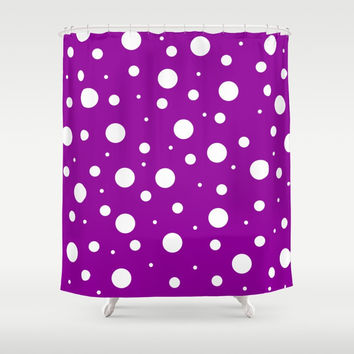 White asymetric polka dot pattern on purple, violet background, simple vintage style theme, classic Shower Curtain by Peter Reiss