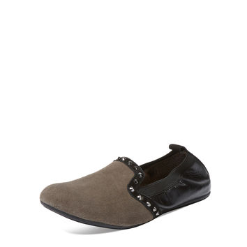 YOSI SAMRA Women's Suede & Embossed Leather Loafer Flat - Grey -