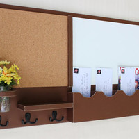 Mail Organizer - Cork Board - White Board - Message Center - Coat Rack - Mason Jar - Wood