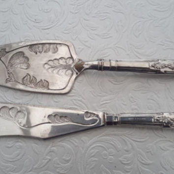 Cake knife and slice, silver plated serving set, Made in England, patterned knife and cake server.