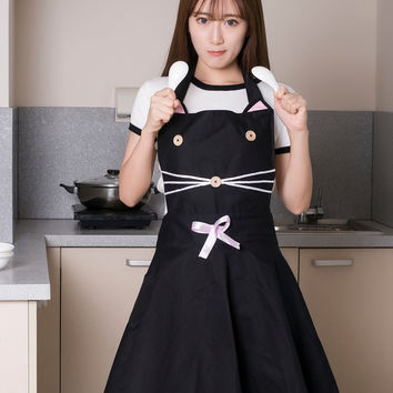 Cute Cat Kitchen Cooking Apron for Waitress or Hairdresser