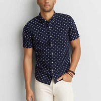 AEO Print Short Sleeve Shirt, Navy