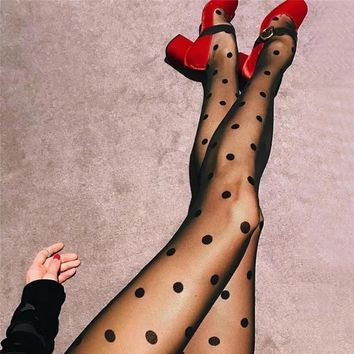 Fashion Perspective Polka Dots Stitching Stretch Pantyhose Tights Silk Stockings