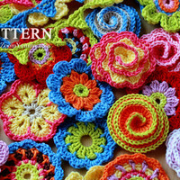 Crochet PATTERNS  Big Flower Party  A Collection of by ZoomYummy