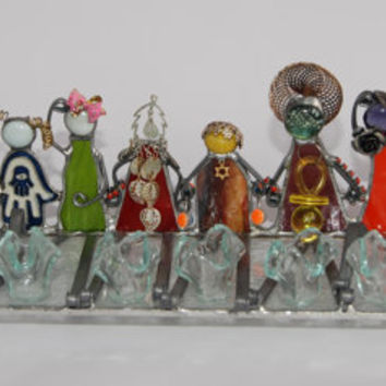 CHILDREN OF ISRAEL Stained glass handmade menorah by dalitglass
