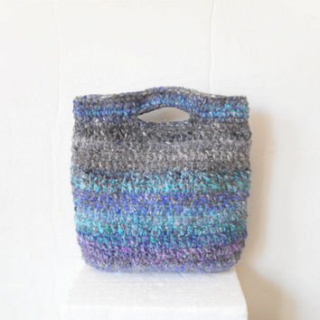 Boho Crochet Handbag in Grey with Turquoise, Blue and Pink Accents, ready to ship.