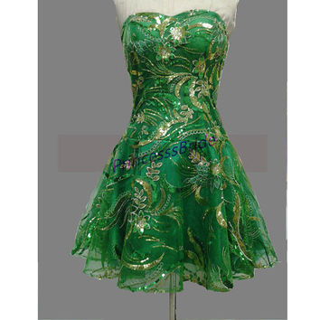 2014 short green tulle homecoming gowns with sequins,unique cute women dresses for party hot,chic cheap prom dresses under 100.