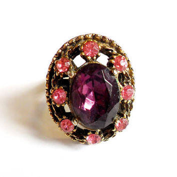 Chunky Rhinestone Statement Ring Pink Purple Gold Tone Adjustable Bold Big Sparkly Rose Faux Amethyst