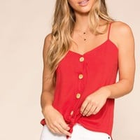 Paige Red Button Tank Top