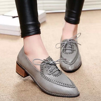 Stylish Hollow Out Pointed Toe With Heel Low-cut Vintage Shoes [9432944970]