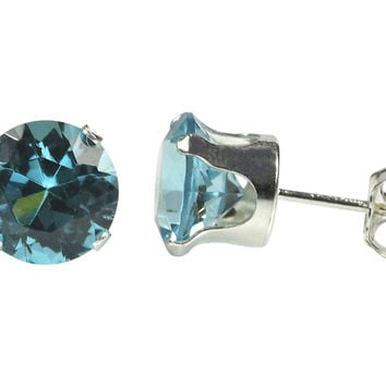 Sterling Silver Stud Earrings Round Aquamarine CZ Cubic Zirconia