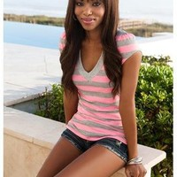 NEON STRIPED V-NECK TEE | Body Central