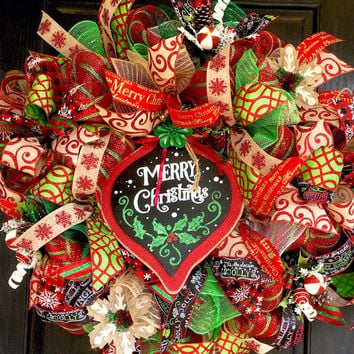 Christmas wreath,Christmas mesh wreath,  Christmas decoration, front door wreath, Holiday wreath, Christmas deco mesh wreath