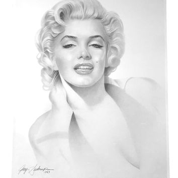 MARILYN MONROE 20X24 LITHOGRAPH BY ARTIST GARY SADERUP SIGNED POSTER 1989 PHOTO