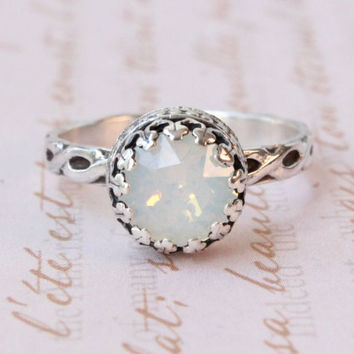 Swarovski white opal sterling silver ring, floral band, 8 mm crystal, vintage style, white ring, gift for bridesmaid, October birthday