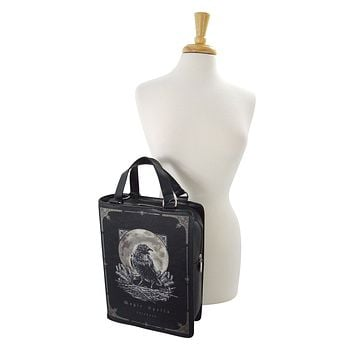 7f2d7e778f1f76 Gothic Raven Moon Magic Spells Book Shape Handbag