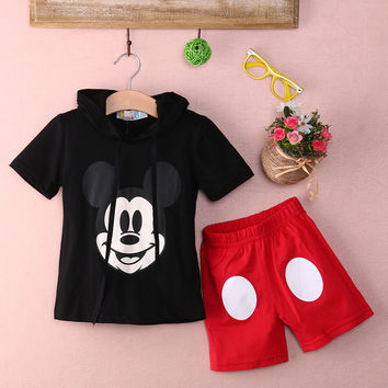 Baby Boy Cartoon clothing 2016 Summer Girls Kids Minnie Mouse Clothes Tops+Dress tutu Pants Outfit Suit