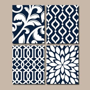 NAVY Bedroom Wall Art, Trellis Pattern Swirl Design, Canvas or Prints, BATHROOM Decor, Kitchen Pictures, Flower Burst, Home Decor, Set of 4