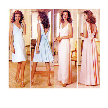 COCKTAIL DRESS PATTERN Maxi Evening Gown Deep V-Back V-Neck Dress Nicole Miller Butterick 4298 UNCuT Womens Sewing Patterns Size 6 8 10 12