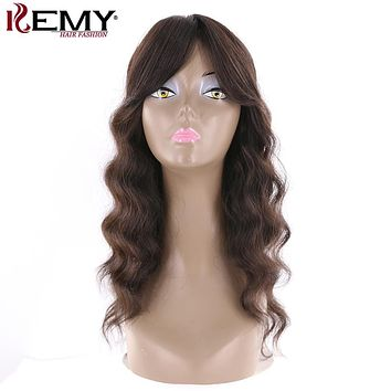 "KEMY HAIR FASHION 20""Human Hair Wigs With Bang Natural Loose Wave Natural Color Brazilian Long Virgin Hair Wigs For Black Women"