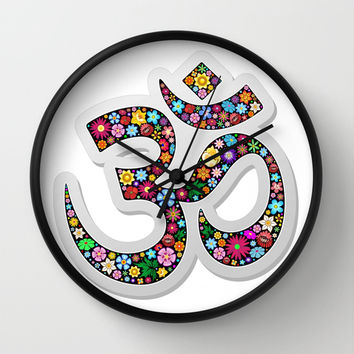 Om Aum Namaste Yoga Symbol Wall Clock by BluedarkArt