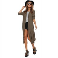 Long Sleeve Chiffon Mid Cover-up with Slit