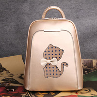 Cute Polka Dot Kitten Bow Mixed Colors School Trapezoid Backpack