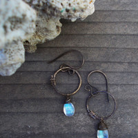 Hammered Moonstone hoop dangle earrings, rainbow flash, primitive wire wrapped circular handmade components, oxidized brass artisan jewelry