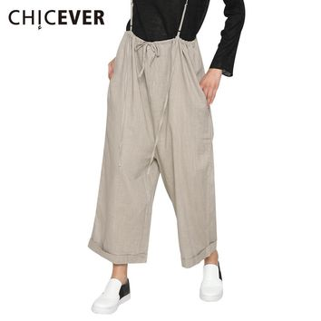 CHICEVER Womens Jumpsuit Overalls Lace up Suspender Female Romper Costumes Sexy Beachwear Trousers Wide Leg Pants 2017 Summer