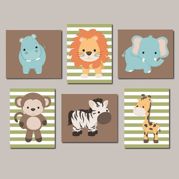 Zoo Animal Nursery Art Jungle Animals Nursery Wall Art Boy Nursery Artwork Animal Nursery Prints Vintage Animal Set of 6 Prints Or Canvas