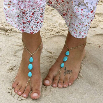 Water Drop Shape Faux Turquoise Foot Anklets With Free Shipping