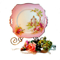Vintage Pink Transferware Plate or Platter Gateway by Royal Winton, Valentine's Day Decor