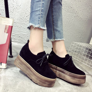 Increased Height 2016 Spring Fall New Women's Shoes With Platforms Wedges Single Shoes Casual Shoes Lace-up Female Shoes